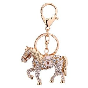 Crystal Horse with Saddle on a Gold Keychain